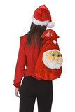 Young brunette carrying a funny Santa sack. poster