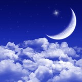 New moon and stars shining above blue clouds poster