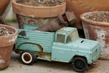 Vintage toy truck in the garden