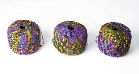 Three colorful yarn balls - blue theme