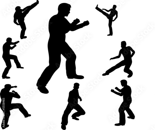 fighting man silhouettes