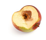 half of a rotten apple against white background,  poster