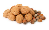 group of walnuts and hazelnuts against white background,  poster
