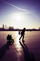 Ice skating and sledging in the Netherlands