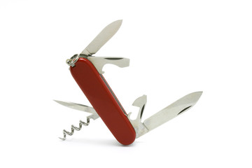 Standing multipurpose Swiss army knife on white background