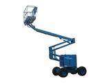 A Blue Mechanical Lift - Cherry Picker. poster