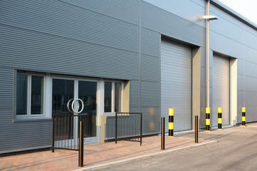 Detail of new industrial unit/warehouse with steel cladding