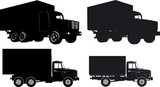 Vector trucks silhouette set