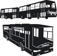 Urban buses silhouettes set
