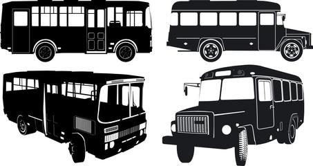 Urban/suburban buses silhouettes set