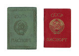 Old soviet passport with cover poster