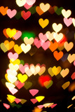 bokeh series - hearts. abstract background, st. valentine theme poster
