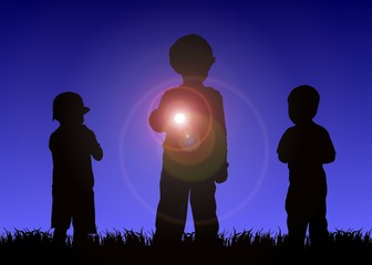 kids with flashlight at night
