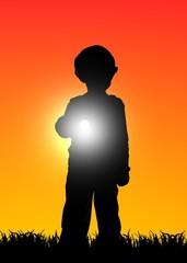 kid with flashlight