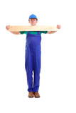 Builder with plank poster