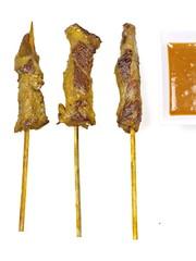 hühnchenfleisch satays mit curry und erdnuß soße