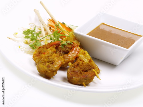 malaysische curry shrimp satays