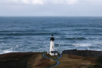 Lighthouse located on the Oregon coast at Yaquina Head