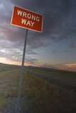 Wrong Way sign found in Idaho. poster