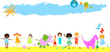 children, dinosaur and other little animals on a field poster