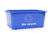 Blue plastic disposal bin with white recycle symbol poster