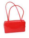 female red leather handbag against white background,  poster