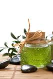 Green color bath salt and liquid soap poster