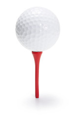 Golf Ball on Tee on White Background