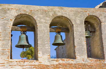MISSION SAN JUAN CAPISTRANO THREE BELLS IN THE TOWER