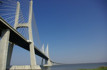 "A view over the ""vasco da gama"" bridge in Portugal."