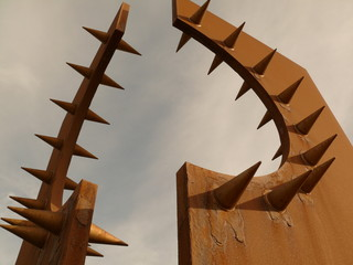 Intimidating Rusty Spiked Sculpture