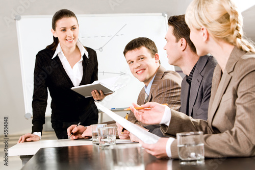 Portrait of business people discussing a new strategy