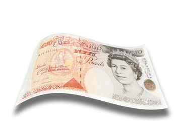 English fifty pound note on a white background