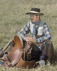 Cowboy with his tack