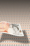 Fifty pound English banknotes poster
