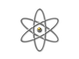 atom symbol with gold core poster
