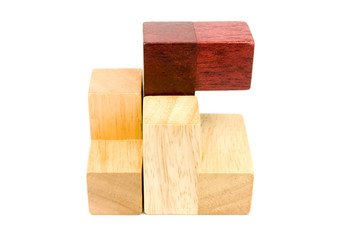 Wood puzzle items isolated on white