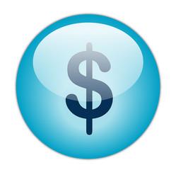 Glassy Blue Dollar Button