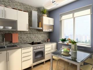 modern kitchen interior (3d computer - generated image)