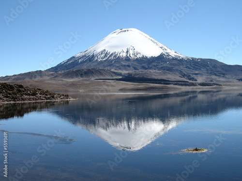 Parinacota volcano overlooking Lake Chungara, Chile