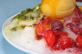 Shaved ice dessert with fruits and icecream poster