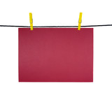 red blank sheet on clothes-line for your notice poster