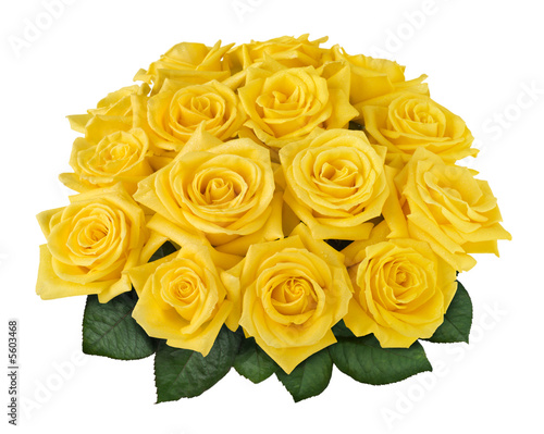 white and yellow rose bouquets. Yellow rose bouquet isolated