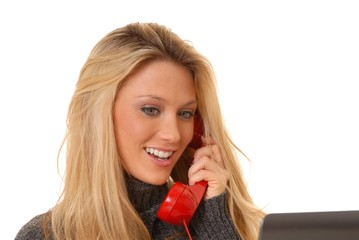 Lovely blond Woman On Telephone
