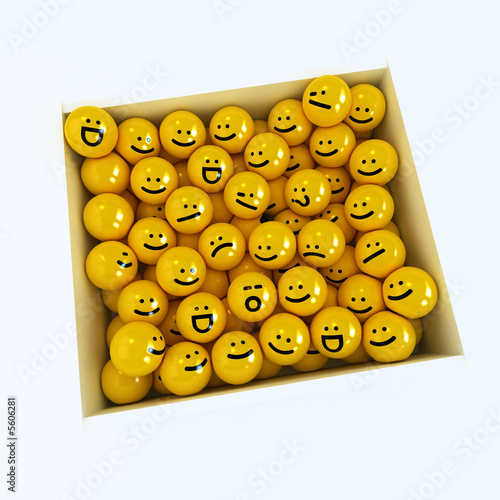 Winking smiley carried by sad and angry in box ones