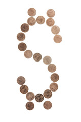 US dollar sign made of coins cents