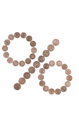 Percent sign made of coins