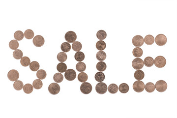 Sale word made of coins cents