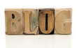 blog in letterpress Windsor font