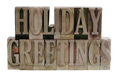 holiday greetings in letterpress metal type